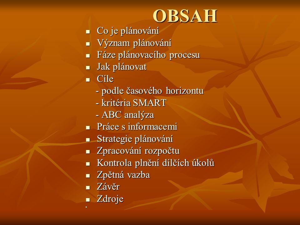 OBSAH Co je plánování Co je plánování Význam plánování Význam plánování Fáze plánovacího procesu Fáze plánovacího procesu Jak plánovat Jak plánovat Cí