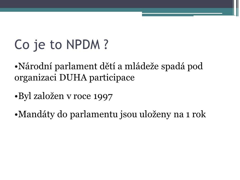 Co je to NPDM ? Národní parlament dětí a mládeže spadá pod organizaci DUHA participace Byl založen v roce 1997 Mandáty do parlamentu jsou uloženy na 1