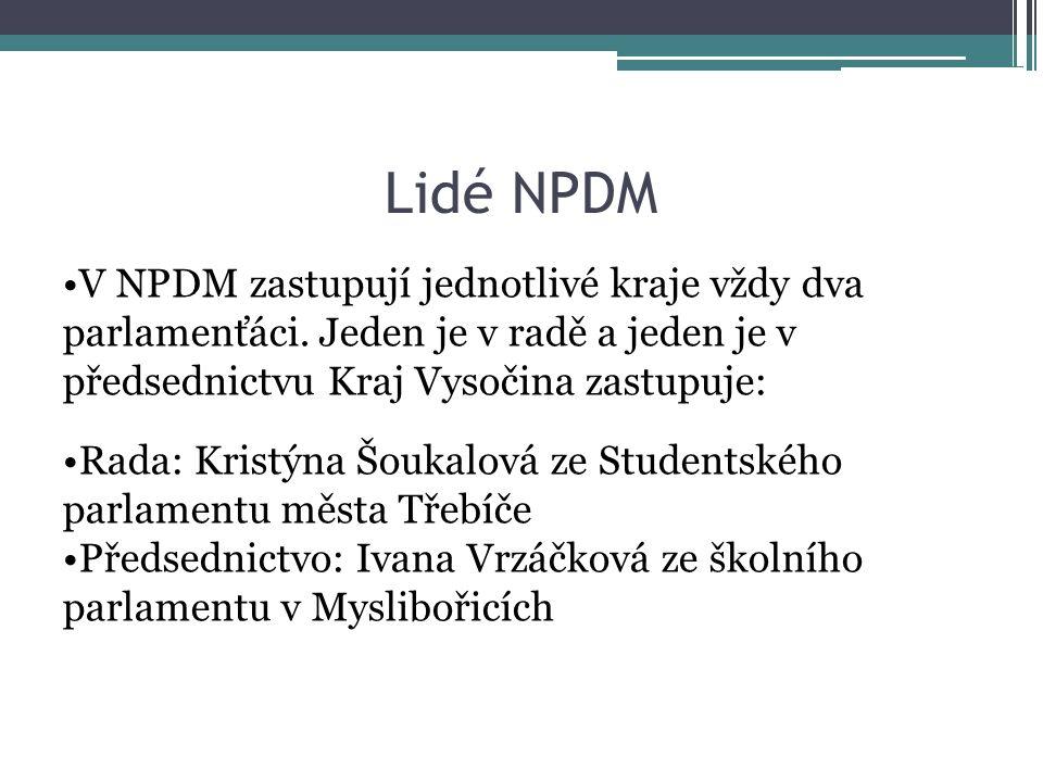 Lidé NPDM V NPDM zastupují jednotlivé kraje vždy dva parlamenťáci. Jeden je v radě a jeden je v předsednictvu Kraj Vysočina zastupuje: Rada: Kristýna
