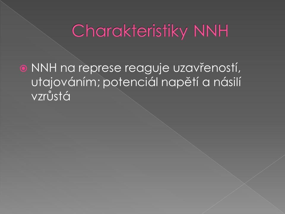 NNH na represe reaguje uzavřeností, utajováním; potenciál napětí a násilí vzrůstá