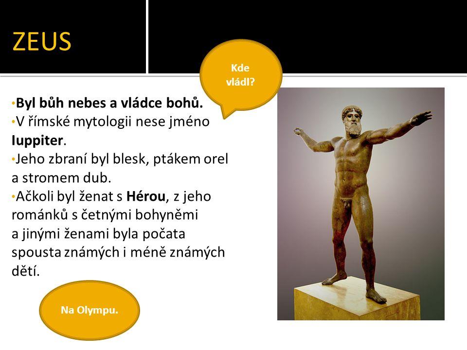 ZEUS Byl bůh nebes a vládce bohů. V římské mytologii nese jméno Iuppiter.
