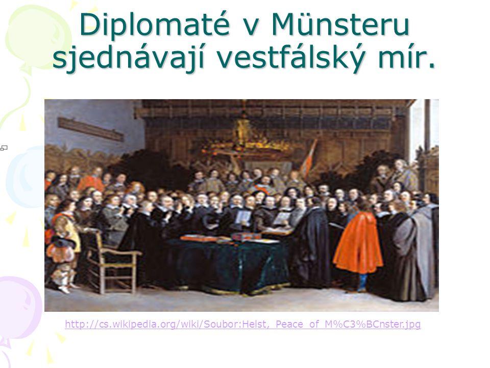 Diplomaté v Münsteru sjednávají vestfálský mír.