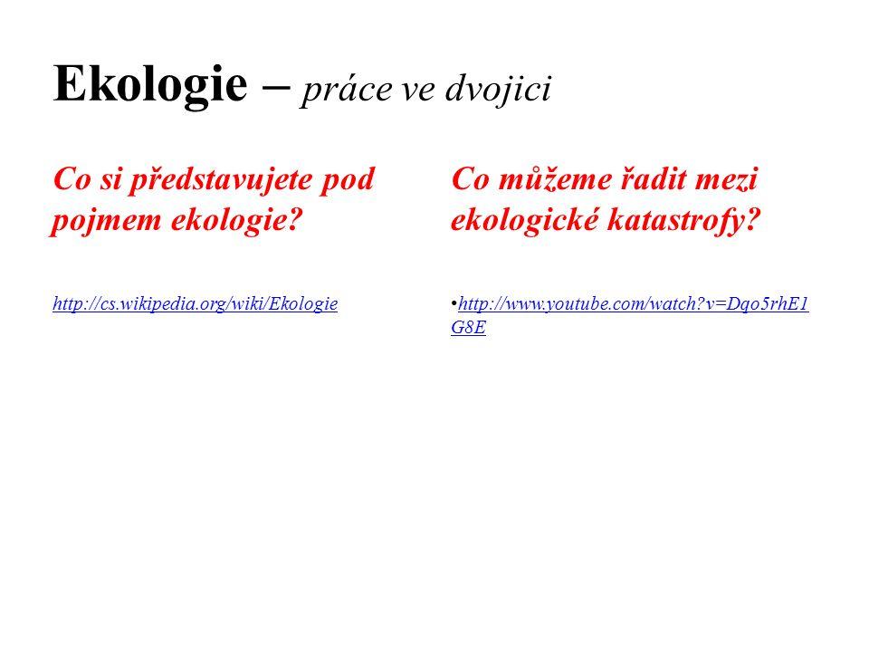 Ekologie – práce ve dvojici Co si představujete pod pojmem ekologie? http://cs.wikipedia.org/wiki/Ekologie Co můžeme řadit mezi ekologické katastrofy?
