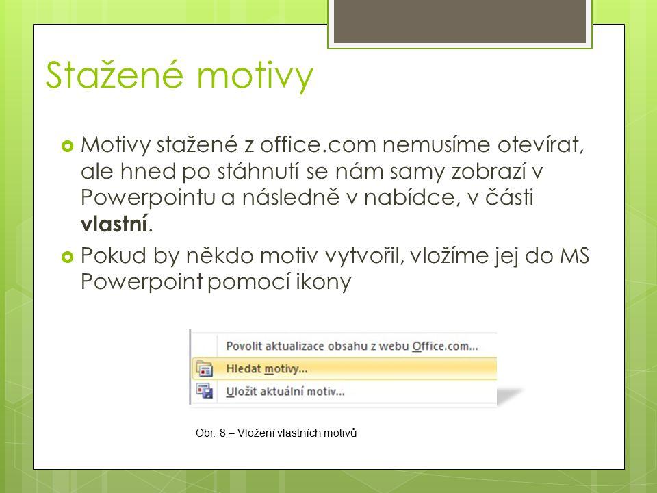  Motivy stažené z office.com nemusíme otevírat, ale hned po stáhnutí se nám samy zobrazí v Powerpointu a následně v nabídce, v části vlastní.