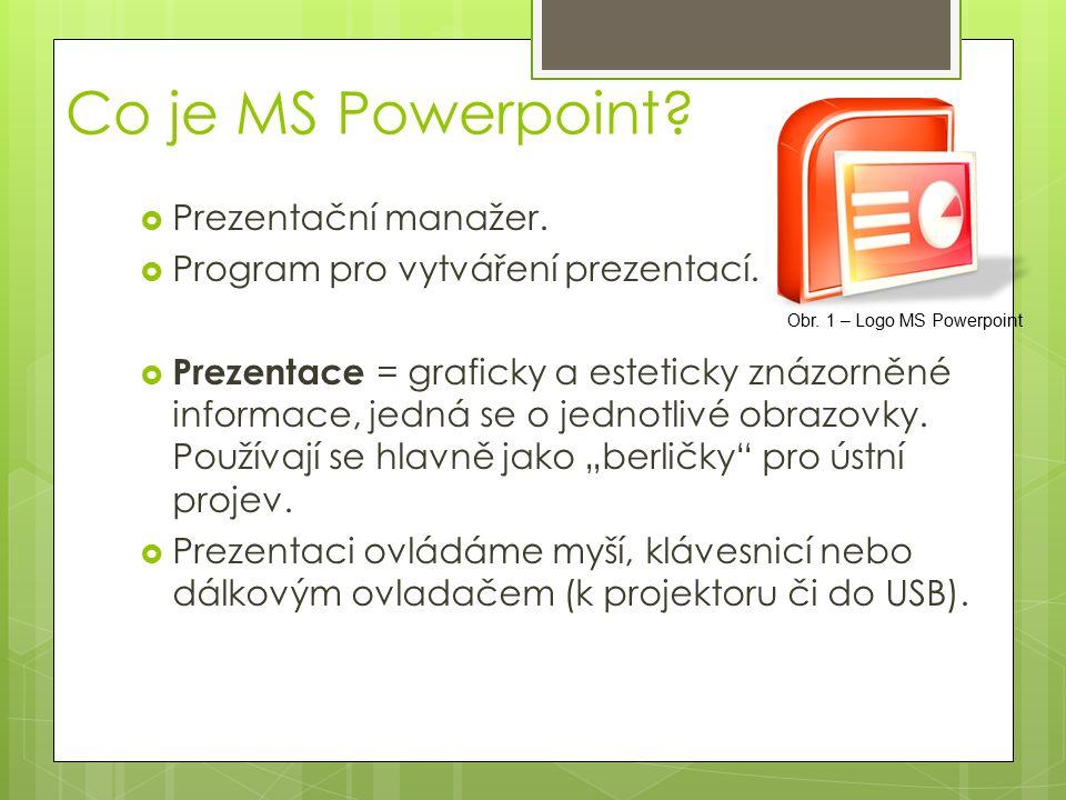 Prostředí Powerpointu Obr. 2 – Prostředí MS Powerpoint