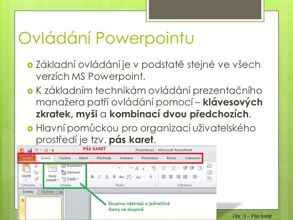  Základní ovládání je v podstatě stejné ve všech verzích MS Powerpoint.