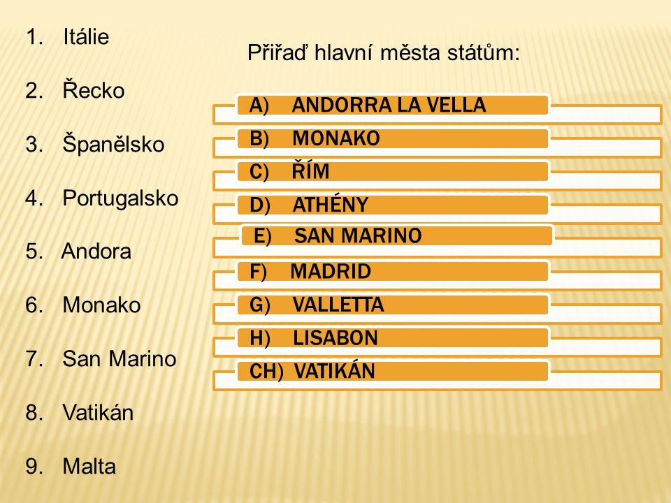 1.Itálie 2.Řecko 3. Španělsko 4. Portugalsko 5. Andora 6.