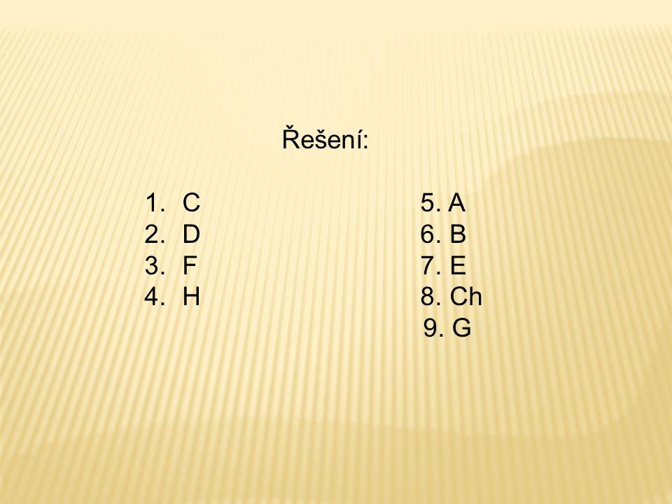 Řešení: 1.C 5. A 2.D 6. B 3.F 7. E 4.H 8. Ch 9. G