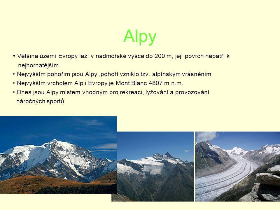 Alpy Většina území Evropy leží v nadmořské výšce do 200 m, její povrch nepatří k nejhornatějším Nejvyšším pohořím jsou Alpy,pohoří vzniklo tzv.