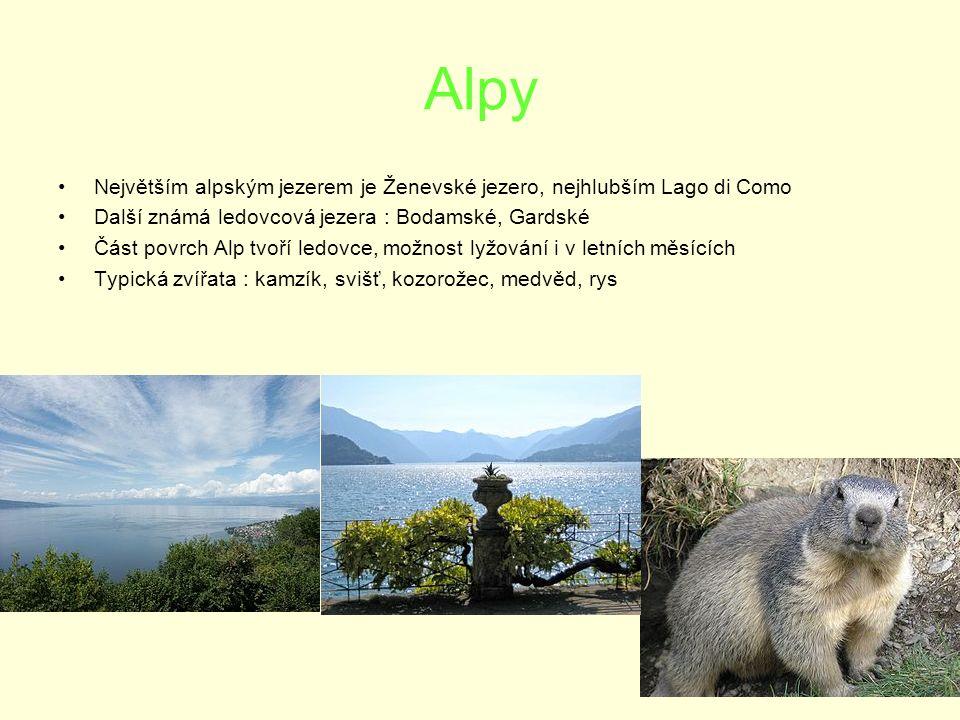 Alpy Největším alpským jezerem je Ženevské jezero, nejhlubším Lago di Como Další známá ledovcová jezera : Bodamské, Gardské Část povrch Alp tvoří ledovce, možnost lyžování i v letních měsících Typická zvířata : kamzík, svišť, kozorožec, medvěd, rys