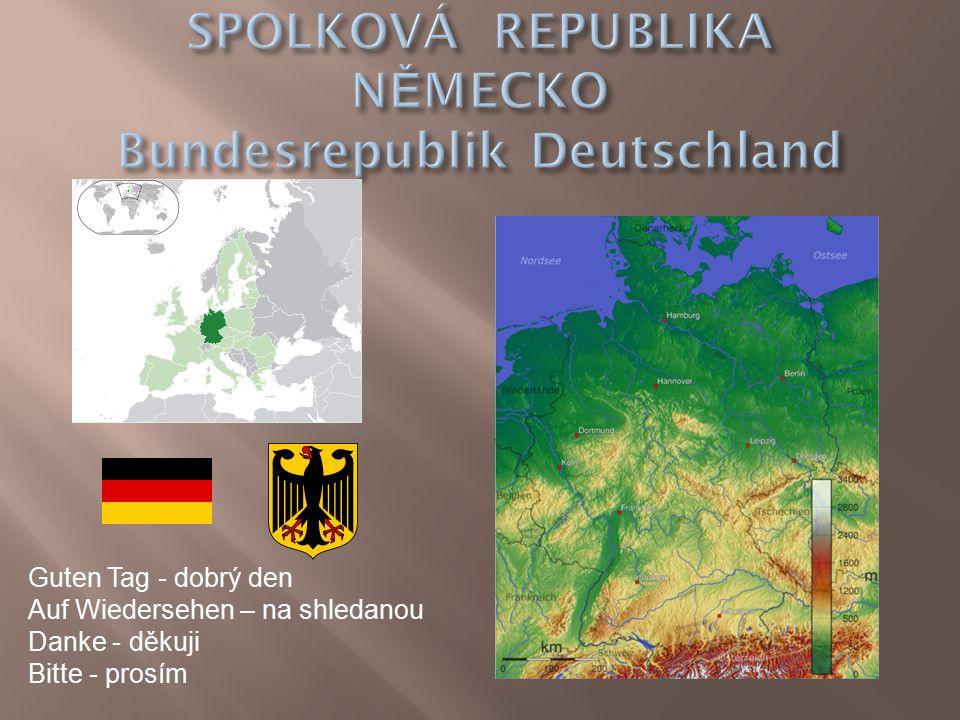  Náš největší soused  Přímořský stát  Převažují zde nížiny  Jižní část je hornatá  Germánský národ  Hospodářsky jedna z nejvyspělejších zemí světa  Mírný podnebný pás  Nejvyšší hora – Zugspitze (2962 m.n.m.) v Alpách  Řeky –Rýn, Labe, Dunaj, Odra, Wesera, Emže  Automobilový a chemický průmysl  Hlavní město – Berlín (3,4 milionů obyvatel  Počet obyvatel – 82 300 000  Rozloha – 357 000 km²  Federativní parlamentní republika (16 spolkových zemí)  Jazyk – němčina  Měna – Euro (dříve německá marka)  Člen Evropské unie  1990 spojena NDR a NSR