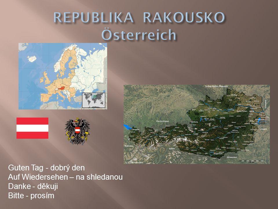  Hlavní město – Vídeň (1,7 milionů obyvatel  Počet obyvatel – 8 260 000  Rozloha – 83 871 km²  spolková republika (9 spolkových zemí)  Jazyk – němčina  Měna – Euro  Člen Evropské unie  Vnitrozemský stát  Převažují hory – Alpy, lesy  Germánský národ  Hospodářsky třetí nejvyspělejší země EU  Oceánské a kontinentální podnebí  Nejvyšší hora – Grossglochner (3798 m.n.m.) Vysoké Taury  Řeky – Dunaj, Rýn  Turistika, zemědělství, vodní elektrárny