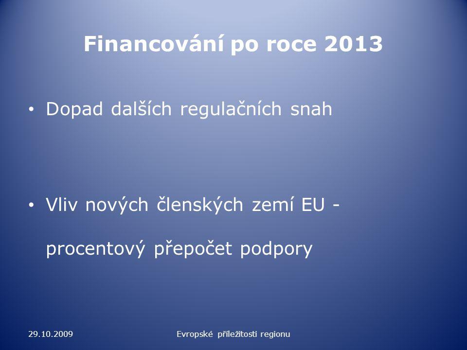 Financování po roce 2013 Nová strategie pro kohezní politiku – dle teritoriální příslušnosti (Balt, Mediterán, Alpy, Ile–de-France) a ne dle institucionálního rozdělení => taktika výhodnosti 29.10.2009Evropské příležitosti regionu
