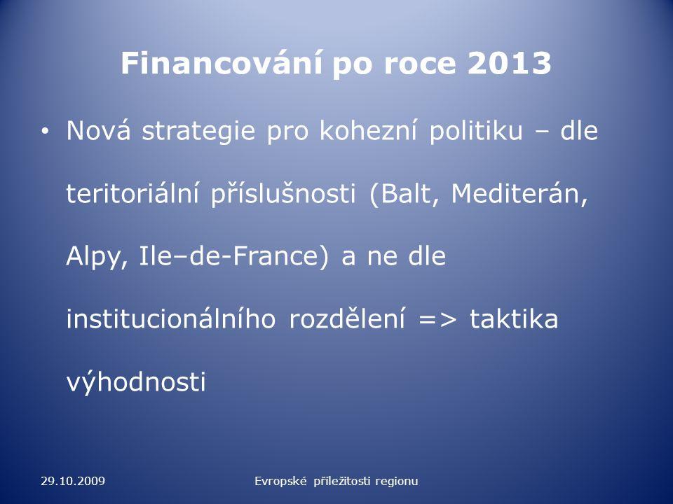 Poučení pro Českou republiku a regiony Podpora výhodné strategie pro ČR – musíme se s někým spojit Lítost nám nic nepřinese, zbývá nám prosazovat vlastní zájmy a přesvědčit ostatní, že to je vlastně i jejich zájem 29.10.2009Evropské příležitosti regionu