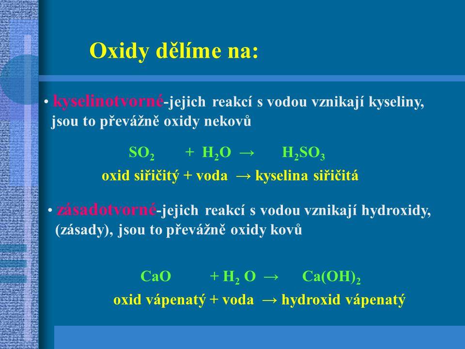 Oxidy dělíme na: kyselinotvorné -jejich reakcí s vodou vznikají kyseliny, jsou to převážně oxidy nekovů zásadotvorné -jejich reakcí s vodou vznikají hydroxidy, (zásady), jsou to převážně oxidy kovů SO 2 + H 2 O → H 2 SO 3 oxid siřičitý + voda → kyselina siřičitá CaO + H 2 O → Ca(OH) 2 oxid vápenatý + voda → hydroxid vápenatý