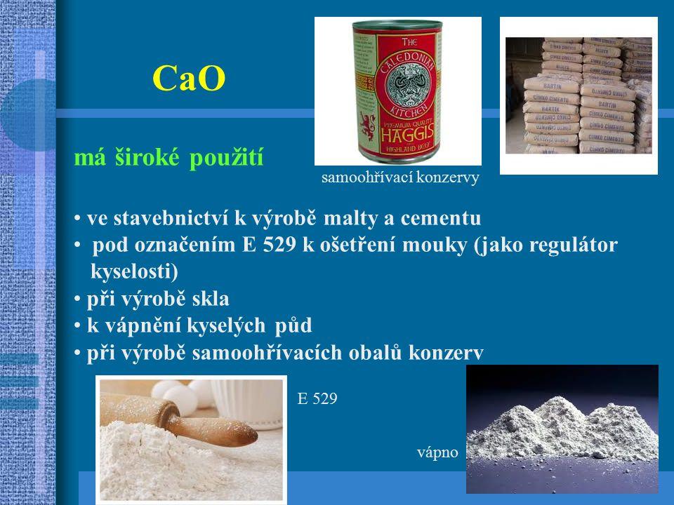 CaO má široké použití ve stavebnictví k výrobě malty a cementu pod označením E 529 k ošetření mouky (jako regulátor kyselosti) při výrobě skla k vápnění kyselých půd při výrobě samoohřívacích obalů konzerv E 529 vápno samoohřívací konzervy