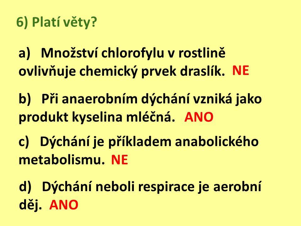 6) Platí věty. a) Množství chlorofylu v rostlině ovlivňuje chemický prvek draslík.