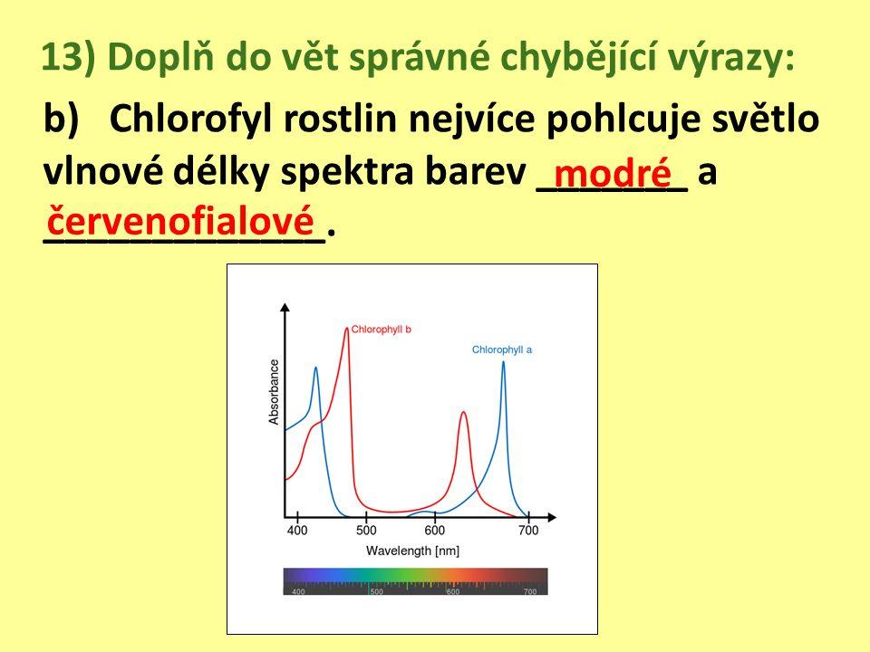 13) Doplň do vět správné chybějící výrazy: b) Chlorofyl rostlin nejvíce pohlcuje světlo vlnové délky spektra barev _______ a _____________.