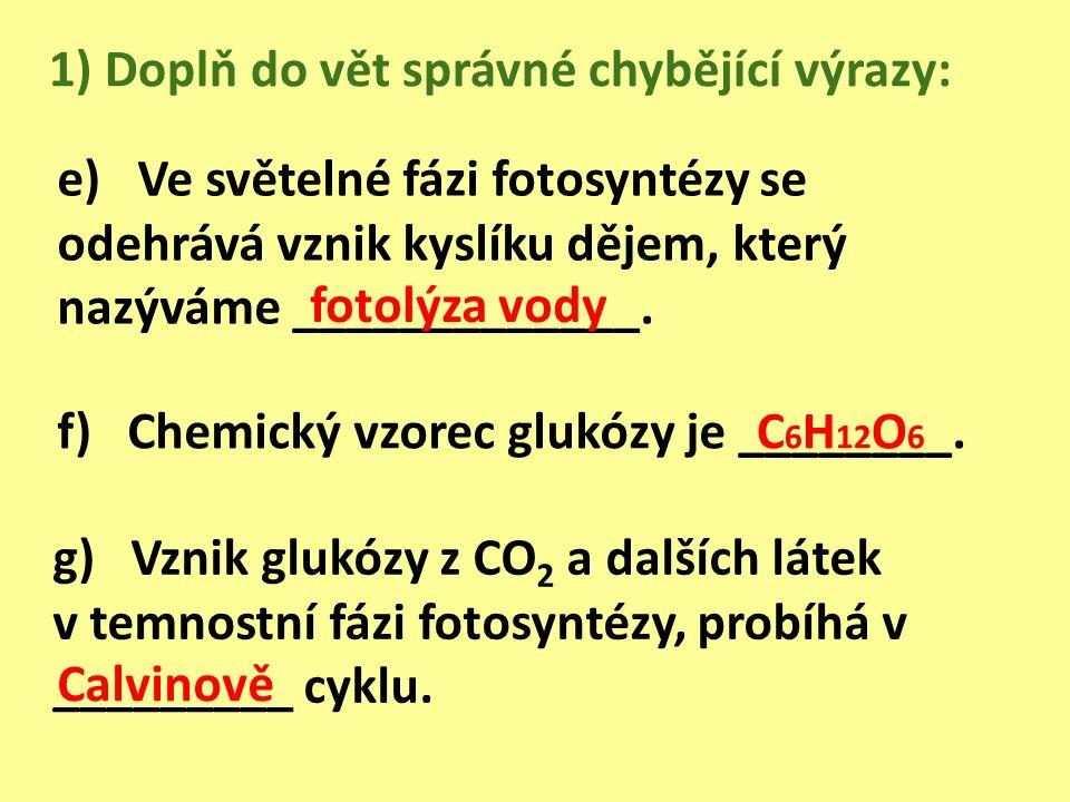 e) Ve světelné fázi fotosyntézy se odehrává vznik kyslíku dějem, který nazýváme _____________.