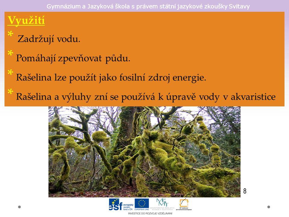 Gymnázium a Jazyková škola s právem státní jazykové zkoušky Svitavy Využití * Zadržují vodu. * Pomáhají zpevňovat půdu. * Rašelina lze použít jako fos