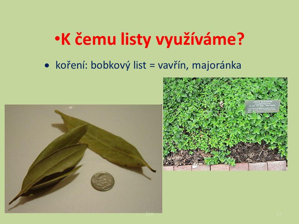  koření: bobkový list = vavřín, majoránka K čemu listy využíváme.