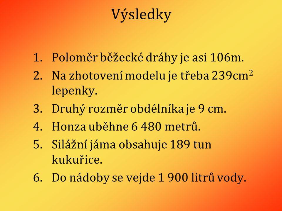Výsledky 1.Poloměr běžecké dráhy je asi 106m. 2.Na zhotovení modelu je třeba 239cm 2 lepenky.
