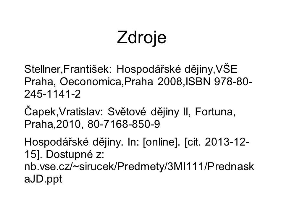 Zdroje Stellner,František: Hospodářské dějiny,VŠE Praha, Oeconomica,Praha 2008,ISBN 978-80- 245-1141-2 Čapek,Vratislav: Světové dějiny II, Fortuna, Pr