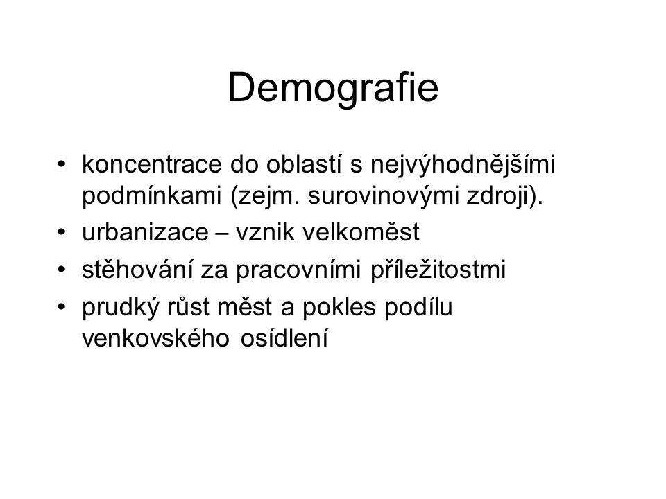 Demografie koncentrace do oblastí s nejvýhodnějšími podmínkami (zejm.