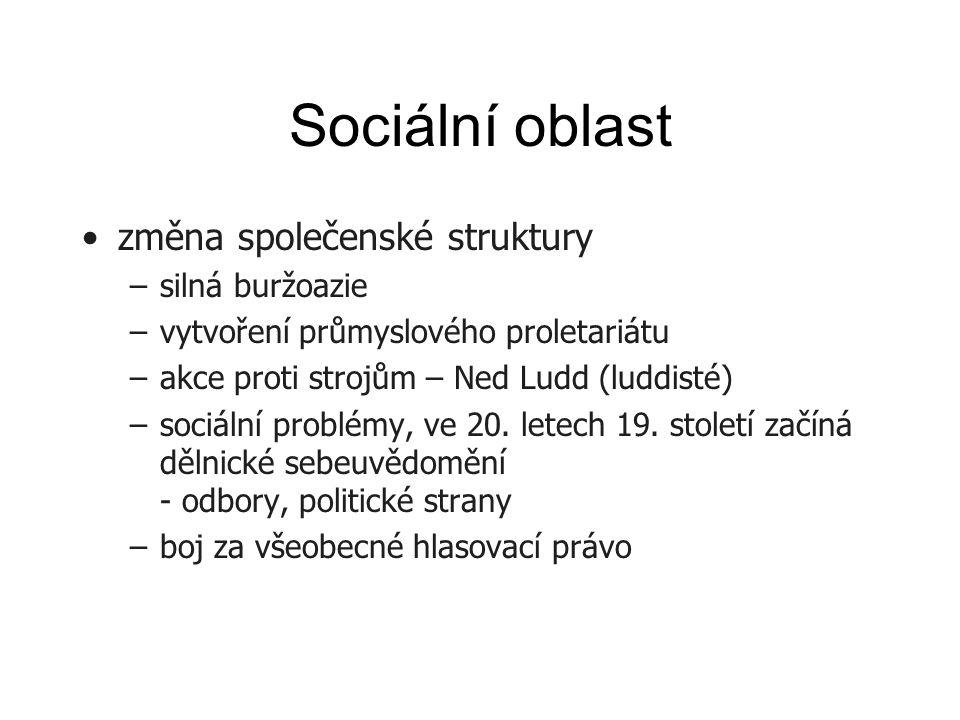 Sociální oblast změna společenské struktury –silná buržoazie –vytvoření průmyslového proletariátu –akce proti strojům – Ned Ludd (luddisté) –sociální problémy, ve 20.