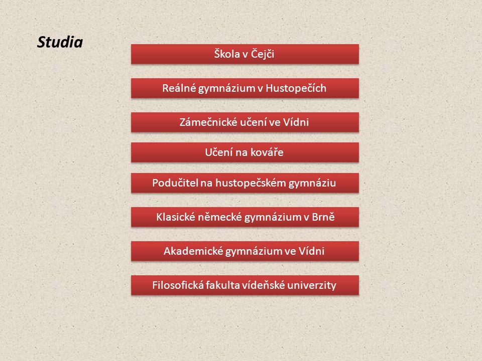 Studia Klasické německé gymnázium v Brně Podučitel na hustopečském gymnáziu Učení na kováře Škola v Čejči Reálné gymnázium v Hustopečích Zámečnické uč