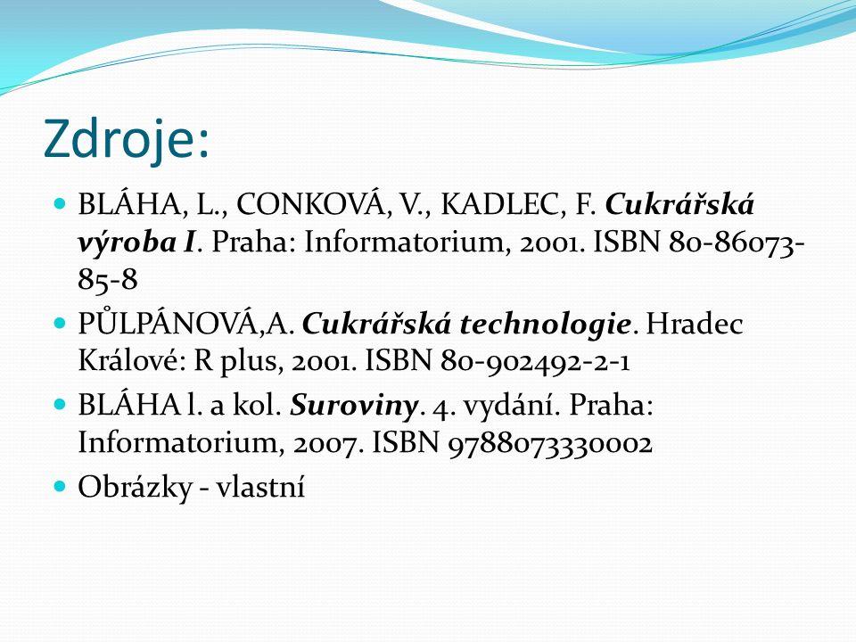 Zdroje: BLÁHA, L., CONKOVÁ, V., KADLEC, F. Cukrářská výroba I. Praha: Informatorium, 2001. ISBN 80-86073- 85-8 PŮLPÁNOVÁ,A. Cukrářská technologie. Hra