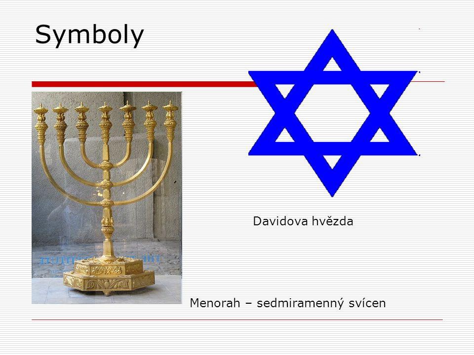 Symboly Menorah – sedmiramenný svícen Davidova hvězda