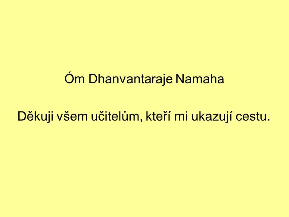 Óm Dhanvantaraje Namaha Děkuji všem učitelům, kteří mi ukazují cestu.