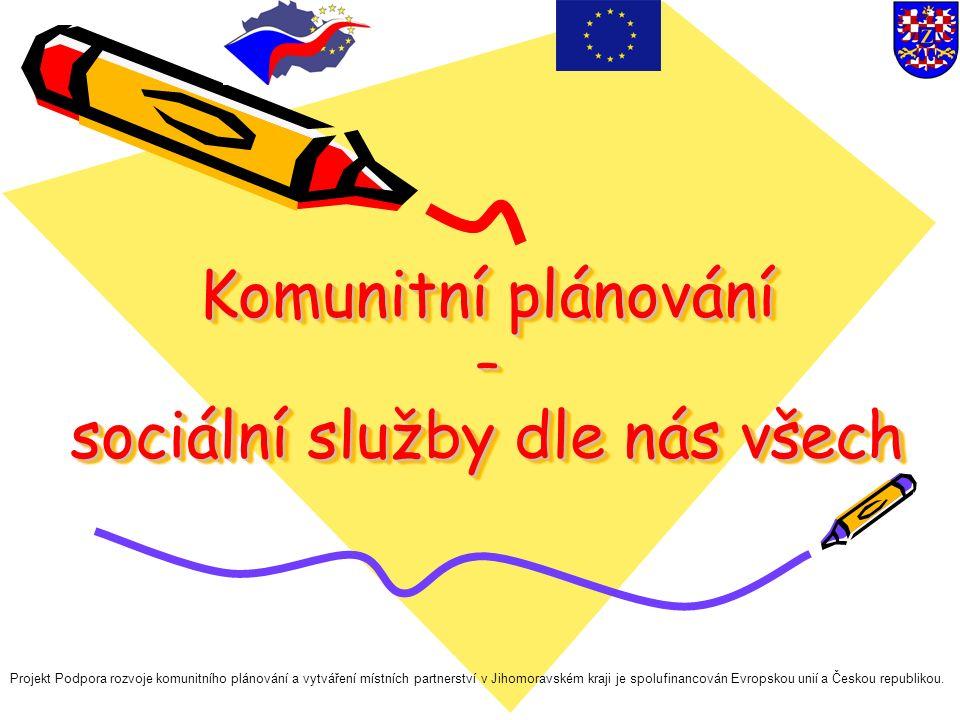 Komunitní plánování – sociální služby dle nás všech Projekt Podpora rozvoje komunitního plánování a vytváření místních partnerství v Jihomoravském kraji je spolufinancován Evropskou unií a Českou republikou.