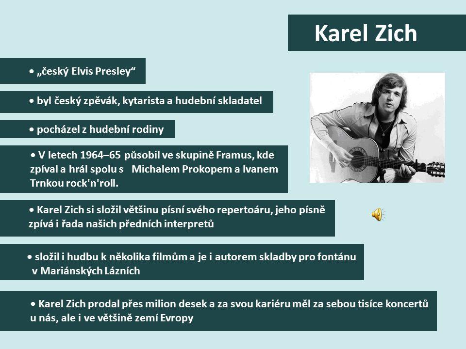 """""""český Elvis Presley byl český zpěvák, kytarista a hudební skladatel pocházel z hudební rodiny V letech 1964–65 působil ve skupině Framus, kde zpíval a hrál spolu s Michalem Prokopem a Ivanem Trnkou rock n roll."""