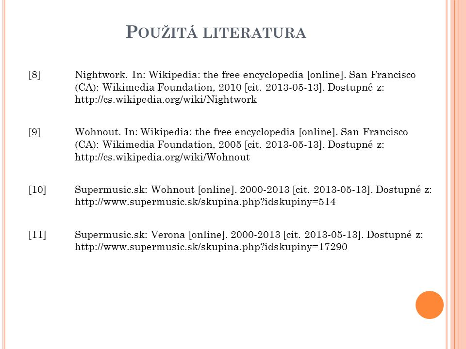P OUŽITÁ LITERATURA [8] Nightwork. In: Wikipedia: the free encyclopedia [online].