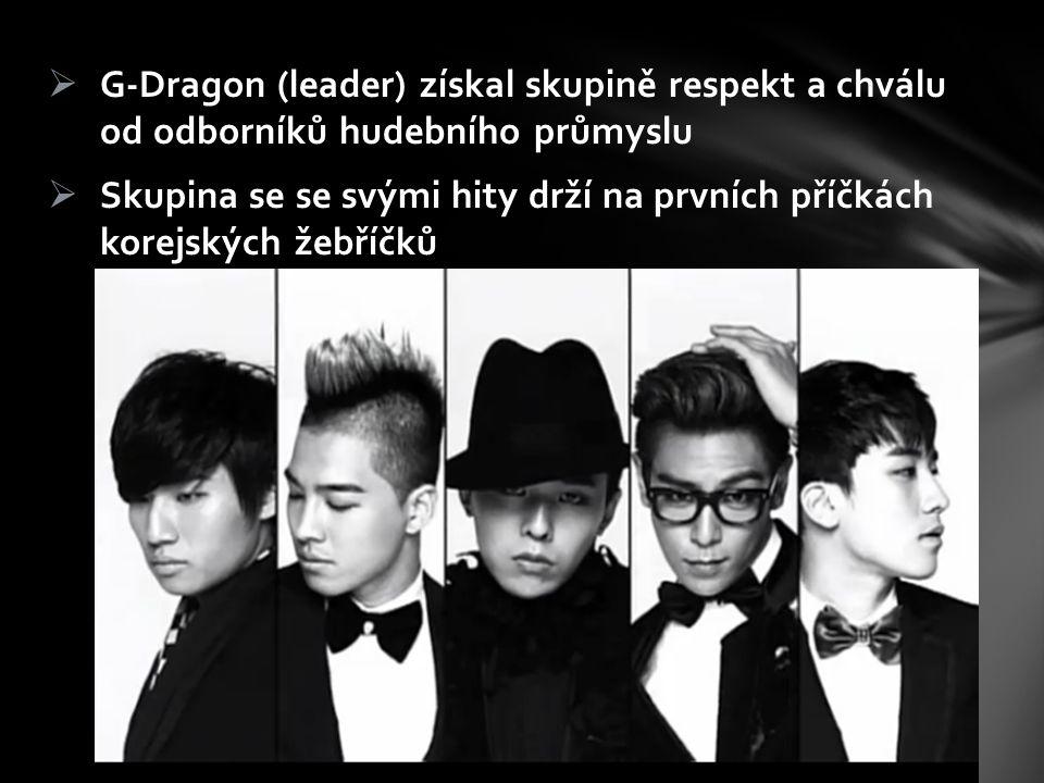  G-Dragon (leader) získal skupině respekt a chválu od odborníků hudebního průmyslu  Skupina se se svými hity drží na prvních příčkách korejských žeb