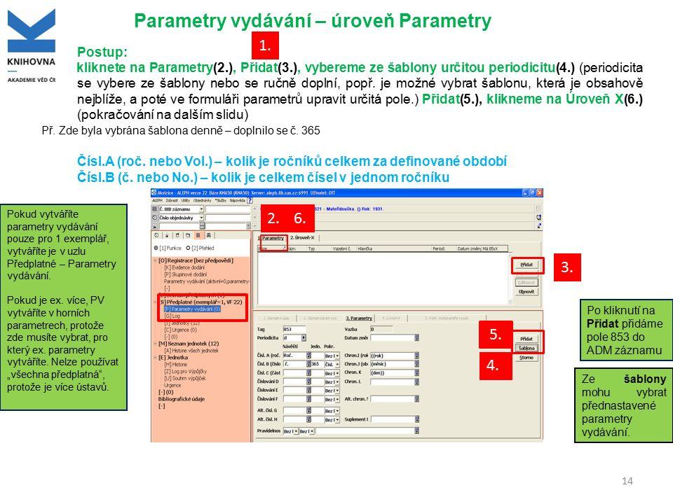 Parametry vydávání – úroveň Parametry Ze šablony mohu vybrat přednastavené parametry vydávání. Postup: kliknete na Parametry(2.), Přidat(3.), vybereme