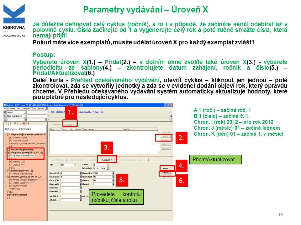 Parametry vydávání – Úroveň X Je důležité definovat celý cyklus (ročník), a to i v případě, že začínáte seriál odebírat až v polovině cyklu. Čísla zač