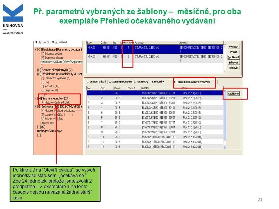 """Př. parametrů vybraných ze šablony – měsíčně, pro oba exempláře Přehled očekávaného vydávání 21 Po kliknutí na """"Otevřít cyklus"""", se vytvoří jednotky s"""