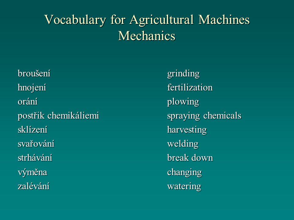 Vocabulary for Agricultural Machines Mechanics grindingfertilizationplowing spraying chemicals harvestingwelding break down changingwateringbroušeníhn