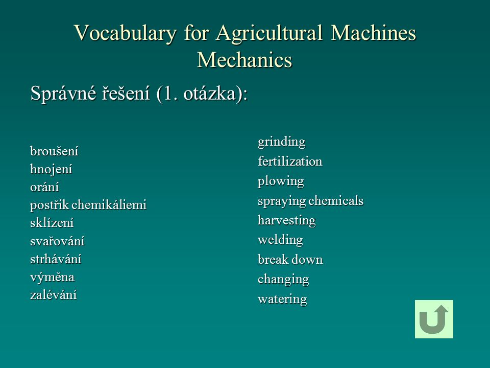 Vocabulary for Agricultural Machines Mechanics grindingfertilizationplowing spraying chemicals harvestingwelding break down changingwatering Správné řešení (1.
