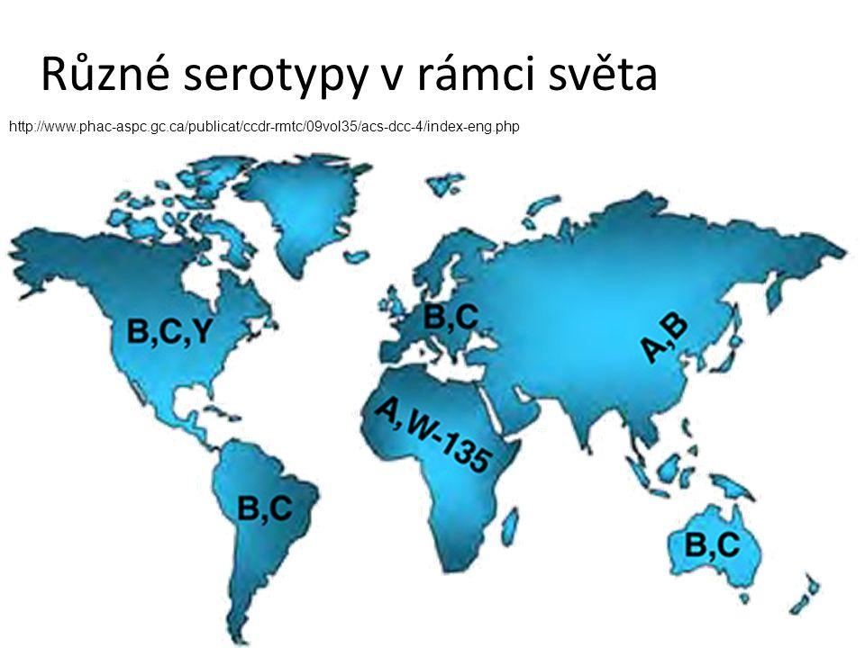 Různé serotypy v rámci světa http://www.phac-aspc.gc.ca/publicat/ccdr-rmtc/09vol35/acs-dcc-4/index-eng.php