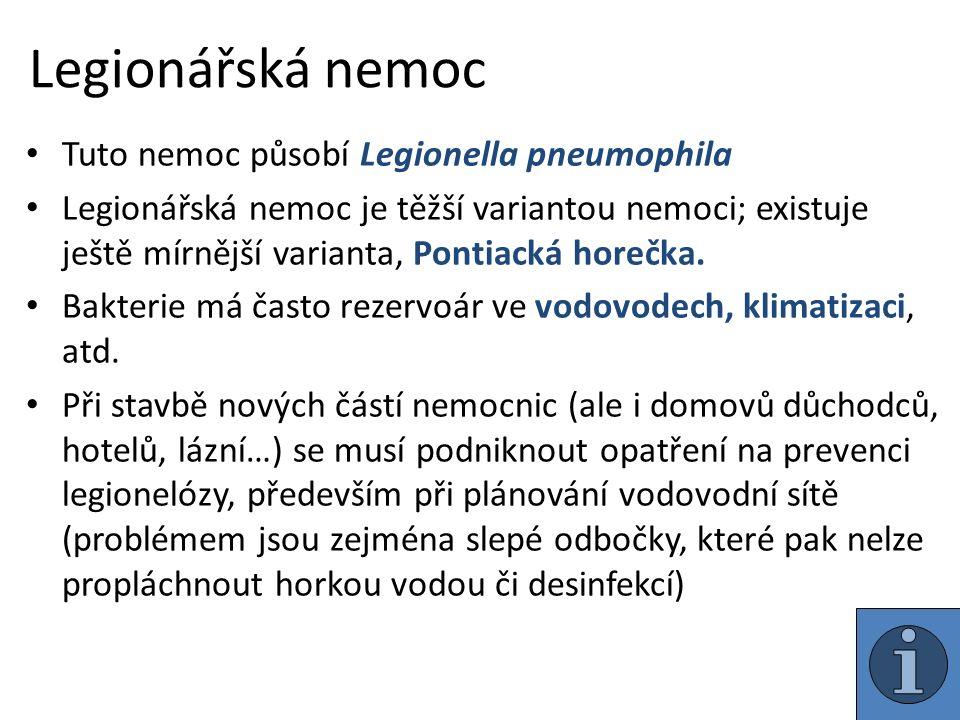 Legionářská nemoc Tuto nemoc působí Legionella pneumophila Legionářská nemoc je těžší variantou nemoci; existuje ještě mírnější varianta, Pontiacká horečka.