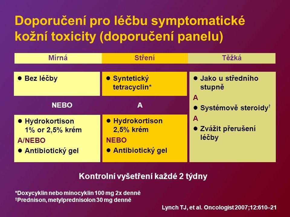 Doporučení pro léčbu symptomatické kožní toxicity (doporučení panelu) Hydrokortison 1% or 2,5% krém A/NEBO Antibiotický gel Jako u středního stupně A Systémově steroidy † A Zvážit přerušení léčby Hydrokortison 2,5% krém NEBO Antibiotický gel Syntetický tetracyclin* A *Doxycyklin nebo minocyklin 100 mg 2x denně † Prednison, metylprednisolon 30 mg denně Kontrolní vyšetření každé 2 týdny Lynch TJ, et al.