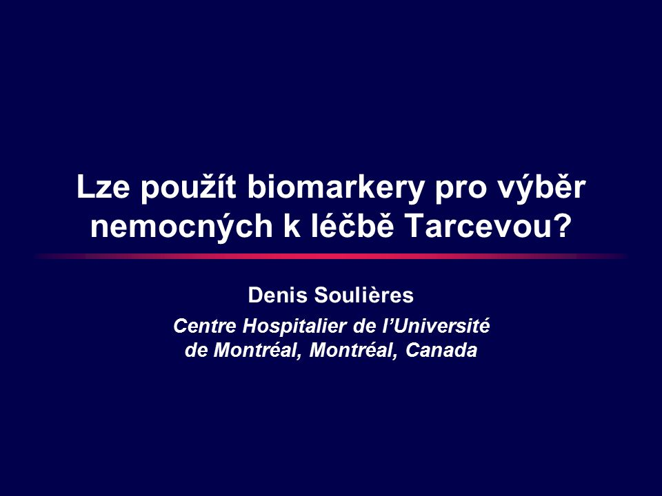 Lze použít biomarkery pro výběr nemocných k léčbě Tarcevou.