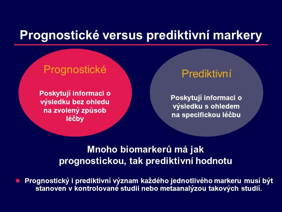Prognostické versus prediktivní markery Mnoho biomarkerů má jak prognostickou, tak prediktivní hodnotu Prognostický i prediktivní význam každého jednotlivého markeru musí být stanoven v kontrolované studii nebo metaanalýzou takových studií.