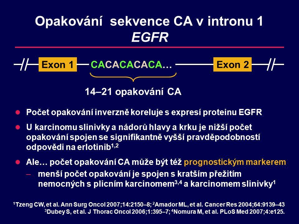 Opakování sekvence CA v intronu 1 EGFR Počet opakování inverzně koreluje s expresí proteinu EGFR U karcinomu slinivky a nádorů hlavy a krku je nižší počet opakování spojen se signifikantně vyšší pravděpodobností odpovědi na erlotinib 1,2 Ale… počet opakování CA může být též prognostickým markerem –menší počet opakování je spojen s kratším přežitím nemocných s plicním karcinomem 3,4 a karcinomem slinivky 1 14–21 opakování CA 1 Tzeng CW, et al.