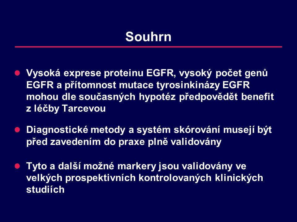 Souhrn Vysoká exprese proteinu EGFR, vysoký počet genů EGFR a přítomnost mutace tyrosinkinázy EGFR mohou dle současných hypotéz předpovědět benefit z léčby Tarcevou Diagnostické metody a systém skórování musejí být před zavedením do praxe plně validovány Tyto a další možné markery jsou validovány ve velkých prospektivních kontrolovaných klinických studiích