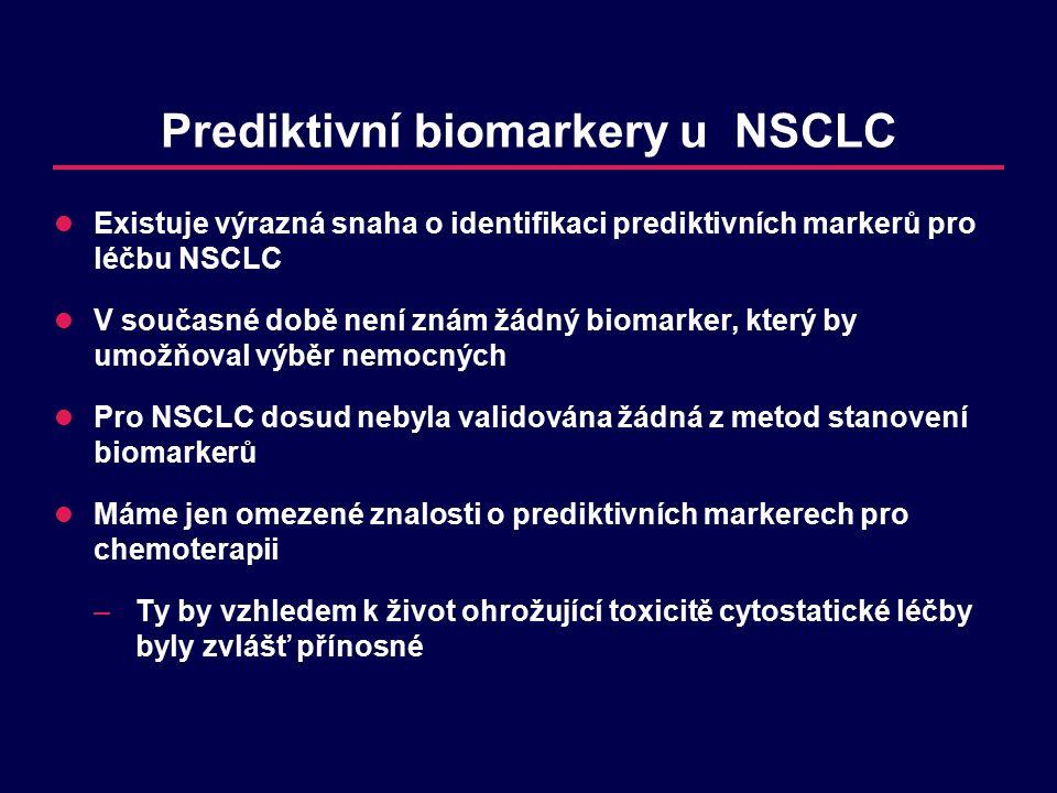 Prediktivní biomarkery u NSCLC Existuje výrazná snaha o identifikaci prediktivních markerů pro léčbu NSCLC V současné době není znám žádný biomarker, který by umožňoval výběr nemocných Pro NSCLC dosud nebyla validována žádná z metod stanovení biomarkerů Máme jen omezené znalosti o prediktivních markerech pro chemoterapii –Ty by vzhledem k život ohrožující toxicitě cytostatické léčby byly zvlášť přínosné